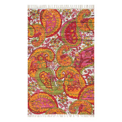 Loloi Rugs - Loloi Rugs Aria Collection - Green / Multi, 3' x 3' Round - Expressive and relaxed, stylish and fun. The Aria Collection from India has it all. Pretty paisley patterns, flourishing flowers, dreamy damasks and magical medallion designs are printed onto 100% recycled cotton Chindi for scatter rugs that are flirty and fashionable. Dressed in a palette of bold, saturated colors that take you from cool blues and pinks to warm spice tones and modern tropical hues, too, Aria rugs come in select scatter sizes that will accent choice spaces with flair.