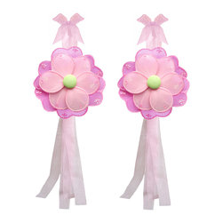 """Bugs-n-Blooms - Set of 2 Flower Curtain Tie Backs, Dark Pink Green Pink - Window Curtains Holder Holders Tie Backs to Decorate for a Baby Nursery Bedroom, Girls Room Wall Decor - 5"""" Diameter Pink Purple Green Hailey Curtain Tieback Set Flower 2pc Pair - Beautiful window curtains tie backs for kids room decor, baby decoration, childrens decorations. Ideal for Baby Nursery Kids Bedroom Girls Room.  These nylon fabric flowers are embellished with sparkling flower & round shaped sequins & sparkling glitter, and have a different colored top petal, bottom petal and fabric center to make this a unique designed flower tie back. This pretty daisy flower decoration is made with a soft bendable wire frame & have color match trails of organza ribbons. Has 2 thick color matched organza ribbons to wrap around the curtains.  Please note: Sizes are approximate and are handmade and variances may occur. Price is for one pair (2 piece)"""