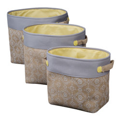 Enchante Accessories Inc - Natural Burlap Storage Bins (Set of 3), Beige - Set of 3 Open top Storage BinsBurlap with re-enforced handlesVintage Screen Printed BurlapSet of three Nested Containers.Measures: Large:15 in.H x 14 in.W x 17.5 in.L Medium:13 in.H x 12 in.W x 16 in.L Small:12 in.H x 10 in.W x 14 in.L Store toys, clothes, arts and crafts supplies, linens, and more in this set of 3 nesting bins. The bins are a great addition to any storage system. Wide tops make it easy to pick up a whole living room scattered with toys for transport back to the kid's room. When empty, one rests inside the other for compact storage. They also collapse flat and tuck away between shelving or lean against the back of the closet without taking up any space. A sturdy design ensures years of reliable storage and transport.