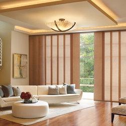 Vertical Window Treatments - Hunter Douglas Skyline Gliding Panels in living room.