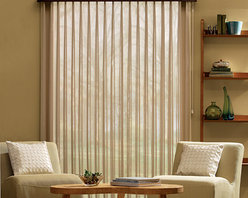 Bali Sheer Enchantment Soft Vertical Blinds - Bali Sheer Enchantment Soft Vertical blinds combine the soft look of sheer fabric draperies and the light control benefits of vinyl vertical blinds. When the vanes are open, softly diffused light streams into the room through sheer fabric for minimal privacy and light control; when closed, light is blocked from entering the room to provide maximum privacy and light control. Not only for patio doors, Sheer Enchantment also looks beautiful on wider or uniquely shaped windows. Plus, Sheer Enchantment fabrics are easily removed and machine washable.