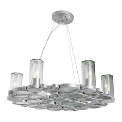 Varaluz - Fascination 6 Light Chandeliers in Nevada Silver With Random Silver Leafing - This 6 light Chandelier from the Fascination collection by Varaluz will enhance your home with a perfect mix of form and function. The features include a Nevada (silver with random silver leafing) finish applied by experts. This item qualifies for free shipping! Wattage:60, Lamp Type:Medium Base, Bulbs:6