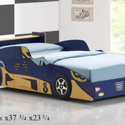 Good Trading - Race Car Twin Wood Bed in Black Blue Red Pink Finish - His unique bed shaped like a sports car is the perfect place for your child to sleep on and speed off to dreamland.