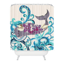 DENY Designs - Valentina Ramos Whale Blossom Shower Curtain - Who says bathrooms can't be fun? To get the most bang for your buck, start with an artistic, inventive shower curtain. We've got endless options that will really make your bathroom pop. Heck, your guests may start spending a little extra time in there because of it!