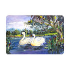 Caroline's Treasures - Bird - Swan Kitchen or Bath Mat 24 x 36 - Kitchen or Bath Comfort Floor Mat This mat is 24 inch by 36 inch. Comfort Mat / Carpet / Rug that is Made and Printed in the USA. A foam cushion is attached to the bottom of the mat for comfort when standing. The mat has been permanently dyed for moderate traffic. Durable and fade resistant. The back of the mat is rubber backed to keep the mat from slipping on a smooth floor. Use pressure and water from garden hose or power washer to clean the mat. Vacuuming only with the hard wood floor setting, as to not pull up the knap of the felt. Avoid soap or cleaner that produces suds when cleaning. It will be difficult to get the suds out of the mat.
