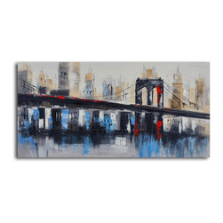Bridge to downtown Hand Painted Canvas Art - What does a bridge mean to you? Travel, excitement, anticipation, mystery? And where is this bridge? A painting can take you out of yourself and into a new place. Hang this on your wall and dream.