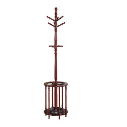Adarn Inc. - Dark Cherry Wood Coat Hat Rack Racks Hall Tree Hanger with Umbrella Holder Stand - A classic addition to any decor, this wood coat rack in a dark cherry finish offers beautiful function. Turned post details complement its style. It will be a perfect piece in your entry way, foyer, or hall for scarves, coats, purses, and umbrellas.