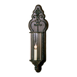 "Welcome Home Accents - 25""H Wood & Iron Wall Sconce - Classic wall sconce features an iron scroll design on a wood background.  Candle design encased in a glass cylinder  completes the look.  Matching cord cover included.    Dust with a dry cloth."