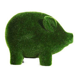 Grass Flocked Piggy Bank - I love when a designer uses an unexpected material. Astroturf on a piggy bank certainly fits the bill.