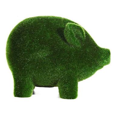 Grass Flocked Piggy Bank -