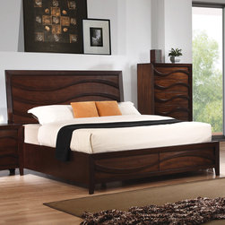 Coaster - Loncar Queen Wave Bed in Java Oak Finish - Discover a contemporary styling with the Loncar collection. Beautifully detailed wave carvings show off the contemporary styling of this beautiful bed. Matching piece fronts cleverly use the wave design as drawer pulls creating mystery and a timeless chic design. In addition, the bevelled mirror ads to the contemporary feel of this collection. Stand out from the crowd in a home that truly inspires.