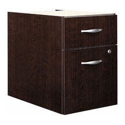 "Bush Business - 3/4 Pedestal File Cabinet - Series C - Your files will be securely organized with our 3/4 Pedestal ��� Cameo.  This highly durable unit is scratch resistant and roomy enough to handle the needs of most home offices or for keeping your most important filed readily accessible desk-side in the office. * Mounts to left or right side of Bow Front Desk, Desk 72"" or Desk 66"". One box and one file drawer for storage needs. File drawer has full-extension ball bearing slides and accepts letter or legal-size files. One lock on file drawer secures both drawers for work place privacy. Fully finished drawer interiors. 15.512 in. W x 20.276 in. D x 20.000 in. H"