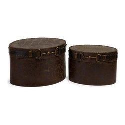 """IMAX CORPORATION - Equestrian Boxes - Set of 2 - Charming western style set of 2 decorative boxes featuring an equestrian inspired buckle detail. Set of 2 in various sizes measuring around 17""""L x 13.5""""W x 12""""H each. Shop home furnishings, decor, and accessories from Posh Urban Furnishings. Beautiful, stylish furniture and decor that will brighten your home instantly. Shop modern, traditional, vintage, and world designs."""