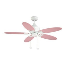 AireRyder FN44322W Angela 44 in. Indoor Ceiling Fan - White - Add the perfect finishing touch to your little girl's room with the AireRyder FN44322W Angela 44 in. Indoor Ceiling Fan - White. Featuring reversible fan blades -- solid pink on one side, daisy print on the other -- this ceiling fan includes a light kit to illuminate your child's room while circulating air. The blade supports and chain pulls are in the shape of butterflies, for an adorable nature theme. This fixture operates on a 3-speed pull-chain control, and uses one 19-watt CFL bulb (not included) behind a frosted opal glass shade.Additional Features:Reversible blades: Pink and daisy printMotor: 153 x 12 mmUL listed for damp locationsAbout Vaxcel LightingFor over 20 years, Vaxcel International has been a premier supplier of residential lighting products. Based in Carol Steam, Ill., Vaxcel's product line is composed of more than 2,000 items, ranging from builder-ready fixtures and ceiling fans to designer chandeliers and lamps, in the latest styles and finishes. They're known in the industry for offering a full selection of products at competitive prices.