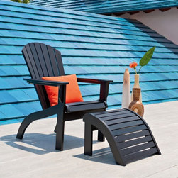Telescope Casual Polymer Adirondack Chair and Ottoman - A fresh classic Adirondack look with the worry-free construction of Telescope Marine Grade Polymer. Rather than constructing our MGP Adirondack Collection from resin boards like our competitors, Telescope uses state of the art technology to create a product that has the extra level of finish and quality Telescope is known for. With our construction the product starts life as a thick dense sheet which is then sculpted using CNC computer controlled routers into our marine grade polymer Adirondack Collection. We take pride in our MGP products for their fit and finish with little to no exposed hardware. This collection coordinates with our Adirondack MGP Sling collection.