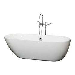 Wyndham Collection - 71 in. Soaking Bathtub in White - Includes cable driven pop up drain and waste overflow are installed. Tub filler not included. No hard edges or stark contrasts. Asymmetrical shape. Smooth curves. Much deeper than standard tubs for full immersion. Warmer to the touch and more comfortable than traditional enamel or steel tubs. Acrylic construction for strength and ease of handling and installation. Adjustable base for accurate leveling and stability. Maximum Fill: 53 Gallons. Drain: 17.5 in. D. Interior: 63 in. W x 26.5 in. D x 17 in. H. Exterior: 70.75 in. W x 32.5 in. D x 21.25 in. H. Assembly InstructionsThe Melissa Soaking Tub is inspired by the free-form beauty of nature. Its time to get organic. Built to last and always warm to the touch, the Verona Bathtubs are a perfect place to melt away tension and stress, leaving you refreshed, recharged and renewed.