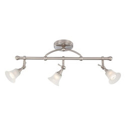 Nuvo Lighting - Nuvo Lighting 60/4154 Surrey Three Light Fixed Track Bar - Nuvo Lighting 60/4154 Surrey Three Light Fixed Track Bar with Frosted Glass, in Brushed Nickel FinishThe Surrey collection was created to find that perfect style that can cross the boundaries between traditional and contemporary design. Surrey's contemporary lines follow the path of traditional fixture designs, while the sleek square tubing and cone shaped fittings offer a modern edge and easily finds itself at home in many styles. This collection is offered in Vintage Bronze with Auburn Beige glass and Brushed nickel with frosted glass shades. Nuvo Lighting 60/4154 Features: