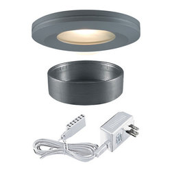 "Jesco Lighting - Jesco Lighting KIT-PK404-SG-A Halogen Beveled Edge Slim Under Cabinet Disk Kit - Jesco Lighting has built a solid reputation on quality, service and value. An expanded product offering includes a broad range of indoor and outdoor lighting products. All are available in various energy-efficient lamp sources and options exist for a multitude of power supplies and accessories allowing you to customize according to your project needs.Halogen beveled edge slim disk with frosted glass lens kit - silver gray. Xenon and halogen slim disks offer small-scale, slender, surface-hugging design in high output low-energy sources that provide luminous true white light. Constructed of machined aluminum, fixtures measure less than 3"" in diameter, and can either be recessed or surface mounted. Includes 3 fixtures and a wall plugged power supply. Slim disks include 72"" Teflon insulated wire and amp connectors for quick connections to transformers the occasional re-lamping is made easy by simply twisting off the trim ring. Please note: slim disks are not intended for use in wall or ceiling applications.Features:"