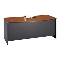 "BBF - BBF Series C 72W Bow Front Desk Shell - BBF - Computer Desks - WC48546 - Make a gracious office statement with the BBF Series C 72""W Bow Front Desk Shell. The functional bow front extends the desk's working space and provides a stylish place for visitors to sit. Addition of coordinating Series C pieces allow expansion of work and storage space to meet your needs. Under the work surface the 72""W Bow Front Shell Desk provides space to add (2)two 2-Drawer or 3-Drawer Mobile Pedestals as well as a Keyboard Tray or Pencil Drawer. Extend the work space with a Return Bridge Corner Module or Credenza on either side. Desktop and modesty panel grommets conceal unsightly wires and cables. Nick-and-scratch-resistant the thermally fused laminate surface retains its beauty for years. Desk edges protected from damage by edge banding. Solid construction meets ANSI/BIFMA test standards in place at time of manufacture; this product is American Made and is backed by BBF 10-Year Warranty."