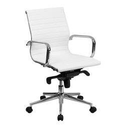 Flash Furniture - Mid-back White Ribbed Upholstered Conference Chair - This elegant office chair will add an upscale appearance to your office. The comfort molded seat has built-in lumbar support and features a locking tilt mechanism for a mid-pivot knee tilt. This chair features dual paddle controls to easily adjust your chair and an integrated bar in the back to keep your jacket within reach. If you're looking for a modern office chair that provides a sleek look, then the Ribbed Upholstered LeatherSoft Office Chair by Flash Furniture delivers.