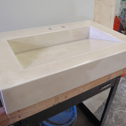 """Madison sink design from the Urban Loft series. - This Madison sink design was a smaller version with the bowl at 24"""" x 12"""" x 3.5"""". The outer dimensions were custom at 32"""" x 19.75"""" x 5"""". This piece was done in natural white and then coffee stained."""
