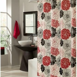 M.style Llc Div Jeffery Fabrics Inc - M. Style Full Bloom 70-Inch x 72-Inch Shower Curtain - No matter the season, your bathroom can be in full bloom with the stylish floral shower curtain. Huge artistic blooms in red, white and black cover the curtain, creating an updated look that bridges modern and traditional style.