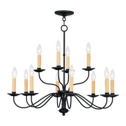 Livex Lighting - Livex Lighting 4467 Heritage Up Lighting 2 Tier Chandelier - Livex Lighting 4467 Heritage Twelve Light Two Tier Up Lighting ChandelierA gorgeous Colonial design, the Heritage twelve light two tier chandelier features classic candle style lights with drip guards, graceful curved arms, and decorative bottom finial. This grand wrought iron style design will enhance the look of any home with its handcrafted look and feel.Livex Lighting 4467 Features: