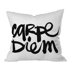DENY Designs - Kal Barteski Carpe Diem Throw Pillow, 20x20x6 - Don't throw this one. Seize the pillow and the day with this graphic statement for your sofa, bed or bench. It's printed on woven polyester front and back, and includes a zipper closure and insert. Buy one for yourself or a friend. Carpe-ing one's diem is contagious, after all.