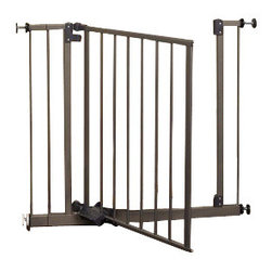 """North States - Slide-Step & Open Baby/Pet Pressure Gate - The North States Slide-Step & Open Safety Gate is adjustable to fit 31.25"""" to 38.5"""" and is a great option for budget-conscience families. Two included extension offer additional configuration options. This gate offers secure mounting with tension knobs that adjust to suit your environment and make set up and removal simple. Add protection for little ones and pets by barricading room openings, stairways, halls, and more. Dual swing gate for convenient travel between divided spaces. Foot operated opening pedal or latch that opens easily for parents, yet is perfectly kid proof.   This system measures 29 ? high and is highly aesthetic in a burnished steel finish that works well with a variety of home decor options.   Simple installation without tools or hardware  Crafted from premium metals for superior durability  Meets or exceeds JPMA guidelines"""