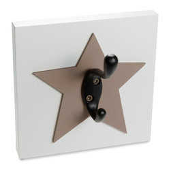 Homeworks Etc - Homeworks Etc Star Single Wall Hook, brown - Decorative star themed wall hook for the nursery and kids room.  Great for hanging towels, clothes, and more.