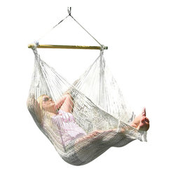 Sunnydaze Decor - Large Mayan Chair Hammock With Wood Bar, Natural - 220 lb. Carrying Capacity