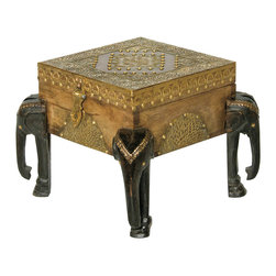 "Everybody's Ayurveda - Elephant Carved Table in Wood and Metal - Medium Elephant Carved Table with Storage Compartment. Wood and Metal. Made in India. 10"" Wide x 10"" Deep x 12"" Tall. Hand crafted in Mango Wood, this eclectic table can be used as a side table with storage! Accented with antiqued brass, this table features feet carved into elephants! Store coasters, games and more! Compliments and can be stacked with our Small and Large Elephant Table!"
