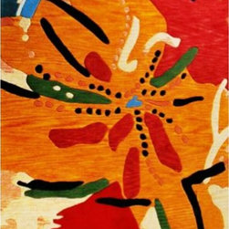 "Pasargad / Jafel Design - ""Tropicana"" Modern 5x8 Area Rug - Taken from an original oil by abstract painter Amber Ja'Ski Watkins, this vibrant rug will bring a bold, festive feeling to your favorite setting. Woven of 100 percent wool, it's a true work of art, yet it's meant to be walked on — durable and easy clean."