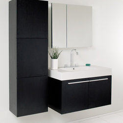 Fresca - Vista Black Modern Bathroom Vanity w Medicine - Vanity, side cabinet, medicine cabinet, sink, faucet, P-trap, pop-up drain and installation hardware included. Soft closing doors. Widespread faucet mount. Made of MDF, wood veneer with acrylic countertop sink. 1-Year warranty on parts. Assembly instructions. Vanity: 35.5 in. W x 19.75 in. D x 25.75 in. H. Medicine cabinet: 30 in. W x 5 in. D x 26 in. H. Side cabinet: 17.75 in. W x 11.75 in. D x 59 in. HA spacious one basin vanity is a chic addition to any decor. Ideal for anyone looking for a winning combination of style, sleek design and size that brings it all together to present something dashingly urban. A simple, sleekly chic design that compliments any interior that demands to be updated to a strong streamlined space. A beautiful widespread chrome faucet is also included.