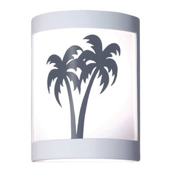A19 - Twin Palms Wall Sconce - A19's Twin Palms sconce brings an echo of the islands, as two palm trees sway in the sea breezes. The image is reverse-painted on a translucent white film and framed in ceramic. The effect is refreshing yet dramatic. The frame is also available in a number of colors and faux finishes ranging from rustic metals to rich glossy glaze.
