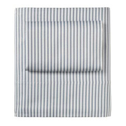 Serena & Lily - Ticking Stripe Sheet Set Denim - Looking for a new basic? You simply can 't go wrong with our riff on this tried-and-true stripe. Not only is it printed on the softest cotton, but it also pairs well with everything from solids to prints.