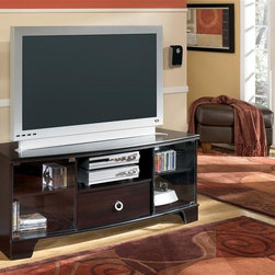 Signature Design by Ashley - 60 inch TV Stand Credenza - Merlot finish over replicated mahogany grain. Side roller glide drawer system for smooth operating drawers. Glass shelves with lighted piers. 60 in. wide TV credenza with curved drawer. Front glass doors and adjustable shelves. Bridge with shelf. Sharp looking reeded moulding. Elegant reeded ring pull hardware.. Color: Merlot. 60 in. W x 24 in. D x 20 in. H (135 lbs)
