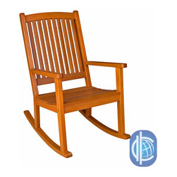International Caravan - International Caravan Royal Tahiti Yellow Balau Wood KD Large Rocking Chair - Taking inspiration from the traditional wood crafts of Tahiti, this elegant and exotic Beleau wood rocking chair offers superb comfort and a calm, rustic style. Looks great out on the porch, in the living room or with a colorful blanket slung over it.
