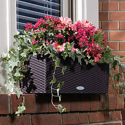 """Improvements - Self-Watering Rectangular Planter-20"""" - A built-in water reservoir allows your plants to practically water themselves. The Self-Watering Rectangular Planter has a lift-out plant liner for easy moving. This outdoor self-watering planter has removable drain plugs. Spend less time watering! Our Self-Watering Rectangular Planter offers both exceptional style and growing ease.This beautiful outdoor planter has a built-in sub-irrigation system that allows plants to draw up water as needed, for several days or even weeks. The integrated water level indicator will tell you when it's time to refill the reservoir. (Click on """"Video"""" below for complete details!) Made of sturdy polyethylene, the Self-Watering Rectangular Planter has a woven wicker-look surface that is shatterproof and UV-resistant. This outdoor planter includes lift-out plant liner(s) for easy planting and transporting -- 20"""" planter has 1 removable liner; 32"""" planter has 2 liners. The Self-Watering Rectangular Planter can be used standing or hanging; brackets (sold separately) fit most balcony and deck railings (4"""" in diameter), or can be attached to a wall, The Self-Watering Rectangular Planter comes with a 1.4 dry gallon (6-liter) bag of Plant Aeration Substrate to create a drainage layer between the water reservoir and the soil layer in your planter. Composed of pumice, zeolites, and lava, Plant Aeration Substrate also includes slow-release fertilizer that is effective for 6-12 months. Reusable. Plant Aeration Substrate is also sold separately (1.4 dry gallon (6-liter) bag) to be used with all your potted plants.Benefits of the Self-Watering Rectangular Planter:"""