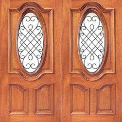 """Prehung Mahogany Insulated Oval Lite Exterior Double Door Ironwork - SKU#XR-351-2BrandAAWDoor TypeExteriorManufacturer CollectionExpo Iron Exterior DoorsDoor ModelDoor MaterialWoodWoodgrainMahoganyVeneerPrice1480Door Size Options2(30"""") x 80"""" (5'-0"""" x 6'-8"""")  $02(36"""") x 80"""" (6'-0"""" x 6'-8"""")  $02(42"""") x 80"""" (7'-0"""" x 6'-8"""")  +$440Core TypeSolidDoor StyleDoor Lite StyleOval LiteDoor Panel StyleRaised Moulding , Floating Panel , 3 PanelHome Style MatchingLog , Prairie , Ranch , MediterraneanDoor ConstructionEngineered Stiles and RailsPrehanging OptionsPrehung , SlabPrehung ConfigurationDouble DoorDoor Thickness (Inches)1.75Glass Thickness (Inches)Glass TypeDouble GlazedGlass CamingGlass FeaturesInsulated , TemperedGlass StyleClear , Glue Chip , SandblastGlass TextureClear , Glue Chip , SandblastGlass ObscurityDoor FeaturesDoor ApprovalsFSCDoor FinishesDoor AccessoriesWeight (lbs)680Crating Size25"""" (w)x 108"""" (l)x 52"""" (h)Lead TimeSlab Doors: 7 daysPrehung:14 daysPrefinished, PreHung:21 daysWarranty1 Year Limited Manufacturer WarrantyHere you can download warranty PDF document."""