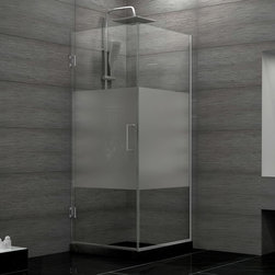 """Dreamline - Unidoor Plus 30-3/8""""Wx30""""Dx72""""H Hinged Shower Enclosure, Half Frosted Glass Door - The Unidoor Plus Shower Enclosure will impress with the fluid style of a completely frameless glass design. Premium thick tempered glass combined with high quality solid brass hardware deliver the rich look of custom glass at an incredible value. The glass has a fingerprint-free frosted band which adds an element of design and privacy. The Unidoor Plus Collection shines on your shower space with a streamlined design and elegant touches."""