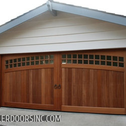Craftsman Designed Garage Door Crafted in Solid Mahogany Wood - African Mahogany hardwood give these Custom Designed Garage Doors their unique characteristic with grain and color variations. Arched window panes on the top panels of the garage door are similar to those of Carriage House Door Designs but built custom toZiegler Garage Door has been custom building garage doors for over 40 years This Laguna Beach CA cottage got a tremendous face lift with Ziegler's custom craftsman designed garage door not to mention functionality with the modern day convenience of a quiet belt driven opener which includes a battery back up and wireless outside keypad. Ziegler's design ability created this arched styled garage door into rectangle sections that roll up overhead. be build. We make sure your garage door is designed and manufactured as an extension of your home's style.