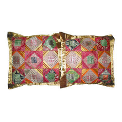 Mogul Interior - Pillow Sham Golden Cushion Covers Indian Decor, Set of 2 - *2 gorgeous vintage silk sari cushion covers in stunning multi colors.