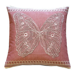Pillow Decor Ltd. - Lace Butterfly in Rose French Tapestry Throw Pillow - Magical as the creature itself, this lace butterfly is a captivating catch. With the gauzy, detailed lace work on authentic dusty pink French tapestry, this pillow is a wonderful pick-me-up for lonely wooden benches or sofas in need of a little charm. If you love this butterfly, don't let it fly away!