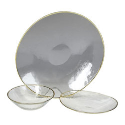 belle & June - Gilt Clear Gold Oval Plate-Set of 4 - Dimensions:  8""