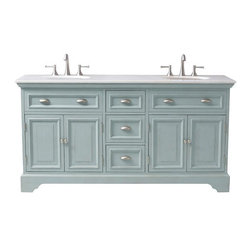 Sadie Double Vanity, Antique Blue - Have you ever seen a vanity this charming? The antique blue color, the white granite top and the metal hardware make it a classic, natural beauty.