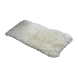 Curly Fur Imports - 2' x 4' Tibetan / Mongolian Lamb Fur Rug (Natural / Diamond White) - Our luxurious  2' x 4'  modern decorative area rug / plate is offered in our gorgeous real 100% Tibetan / Mongolian lamb fur. It adds a touch of softness, beauty, luxury and warmth to any room. All it takes is one accent to invigorate a room with gentle luxury and rich texture. Tibetan lamb fur is a luxurious fur that is incredibly soft, silky and curly. Plus it has natural properties that will keep you cool in the summer and warm in the winter. Fur length is over 4 inches.