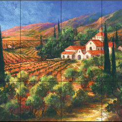 The Tile Mural Store (USA) - Tile Mural - Af - Tuscan Monastery - Kitchen Backsplash Ideas - This beautiful artwork by Art Fronckowiak has been digitally reproduced for tiles and depicts a tuscan countryside.  Our kitchen tile murals are perfect to use as part of your kitchen backsplash tile project. Add interest to your kitchen backsplash wall with a decorative tile mural. If you are remodeling your kitchen or building a new home, install a tile mural above your stove top or install a tile mural above your sink. Adding a decorative tile mural to your backsplash is a wonderful idea and will liven up the space behind your cooktop or sink.