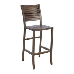 Frontgate - Palm Outdoor Bar Stool with Cushion, Patio Furniture - Durable wrought aluminum frame. Classic coastal style mimics the look of wood plantation shutters. Available in Oyster or Mahogany finish. Crafted in durable wrought aluminum, The Palm Bar Stool by Summer Classics combines gentle sloping curves with a shutter back design. This unique styling offers a transitional look that will make a subtle statement in any outdoor setting. . . . Note: Due to the custom-made nature of the cushions, any fabric changes or cancellations made to the Palm Collection by Summer Classics must be made within 24 hours of ordering.