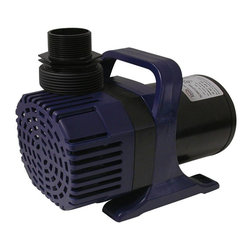 Alpine Fountains - Cyclone Pump (6550 GPH) - Choose Capacity: 6550 GPHIncludes 33 ft. power cords. Vortex impeller with large pre filter. Easy to disassemble on both sides without tools. Water resistant ceramic bearings for continuous and trouble free use. Oil free magnetic driven, epoxy protected ceramic shaft. Cost saving, energy efficient operation. Vertical or horizontal placement. High performance, extremely sturdy asynchronous motor. Reduced frequency of pump cleaning due to optimum water flow. High efficiency in compact size. Energy saving split tube motto. Safe for fish, contains no oil. Low maintenance. Operates submerged or in line. Can pump dust particles up to 0.24 in.. Warranty: Three years. 13 in. L x 7 in. W x 8 in. H (14 lbs.)6550 GPH Pump:. Power consumption: 480 watts. Max flow: 6550 gph. Max head: 300 in.. Outlet connection: 1.5 in.8000 GPH Pump:. Power consumption: 600 watts. Max flow: 8000 gph. Max head: 312 in.. Outlet connection: 1.5 in. to 2 in.Cyclone asynchronous pumps deliver professional-grade performance. Perfect for pond and waterfall applications, these pumps deliver high-volumes with direct-drive performance and magnetic-drive efficiency. Reliable and quiet submersible water pump